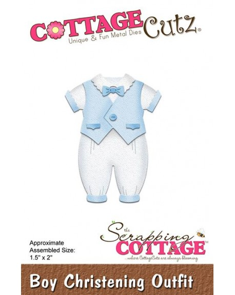 FUSTELLA COTTAGECUTZ BOY CHRISTENING OUTFIT